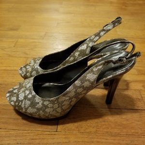 Marc Fisher silver and gold glitter Melissa heels